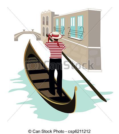 Gondola clipart canal  Venice Vector Symbols Illustration