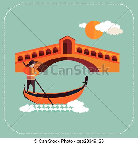Gondola clipart canal With of with Vector gondola