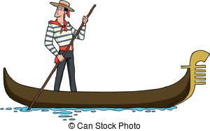 Gondola clipart venice Gondolier oar  gondola Vector