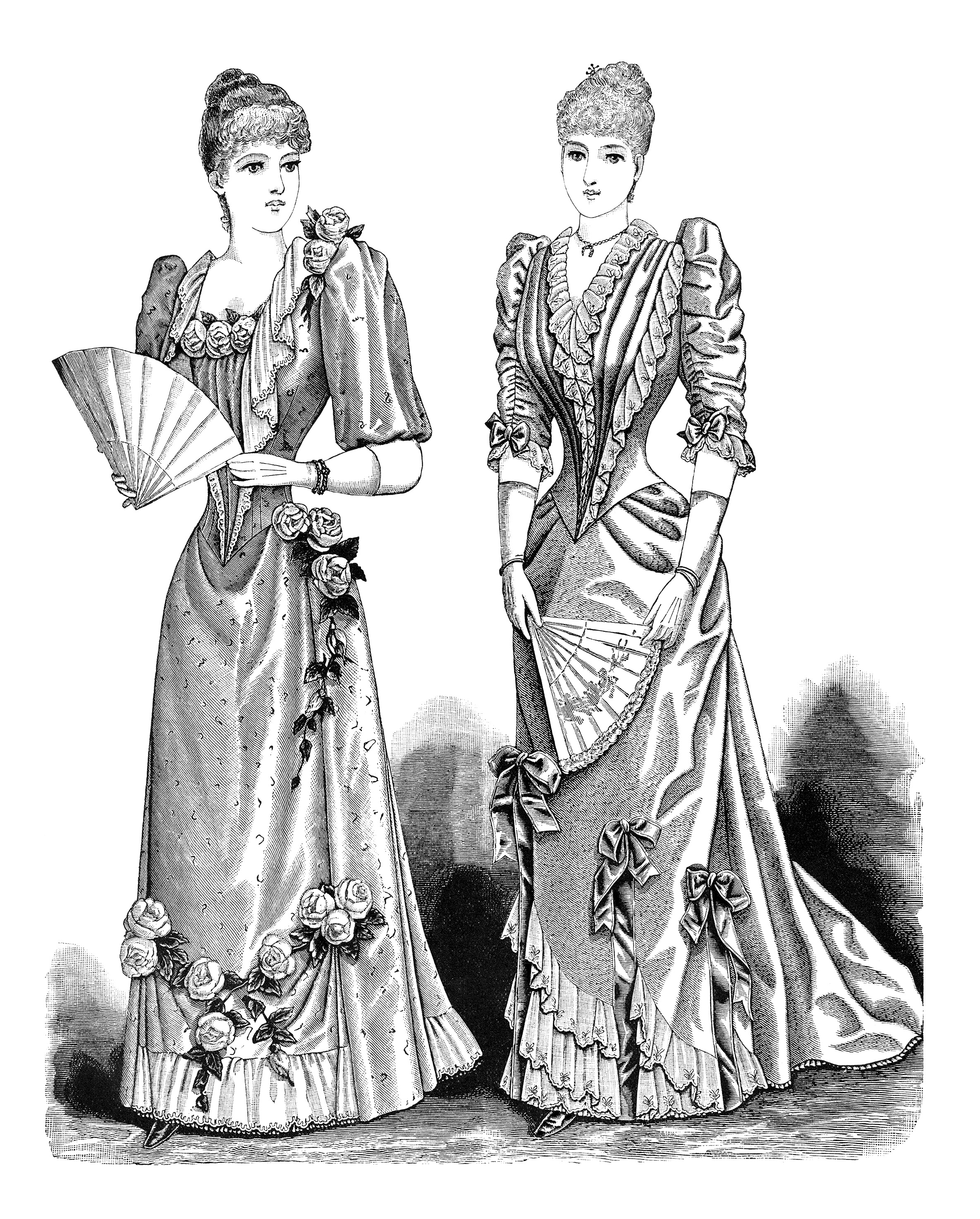 Victorian clipart old fashioned Victorian black black vintage fashion