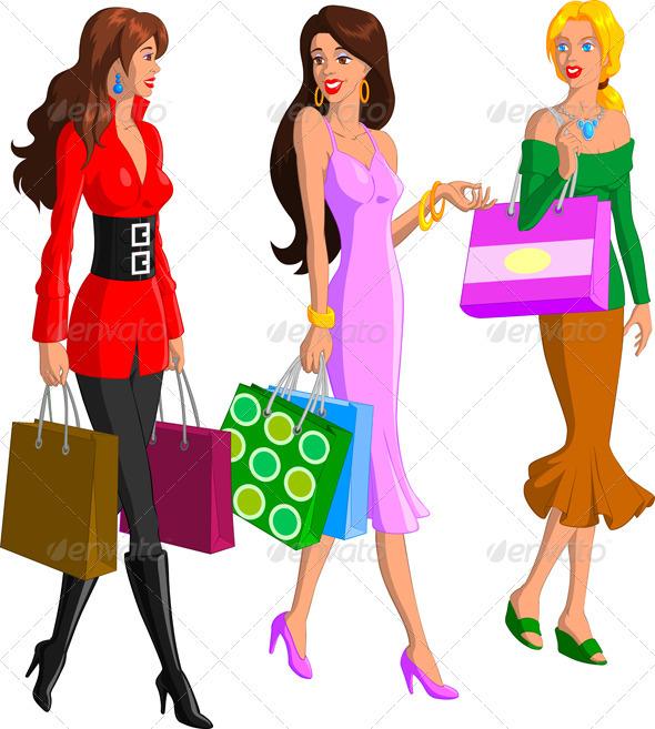 Gorgeus clipart fashion lady #GraphicRiver  Vector illustration Shopping