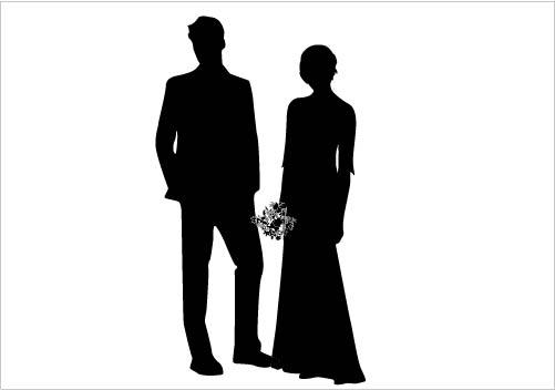 K.o.p.e.l. clipart formal Gorgeous Vector Silhouette Couple Bride
