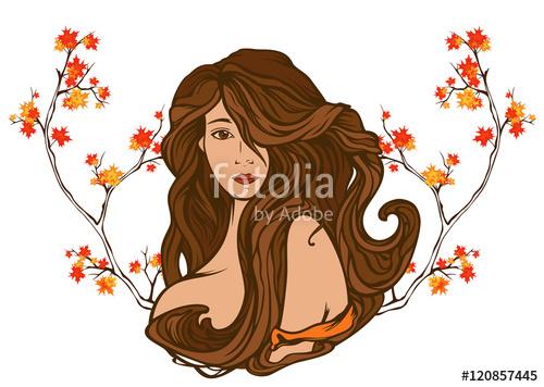 Gorgeus clipart hair and beauty Woman art autumn foliage autumn