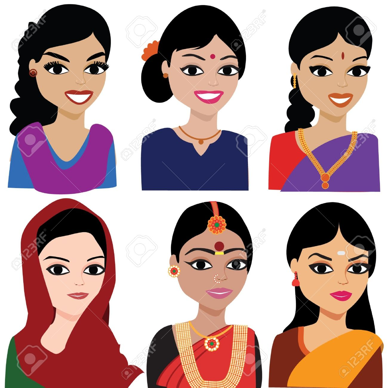 Gorgeus clipart pretty lady Women Cliparts Indian Art
