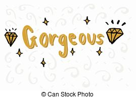 Gorgeus clipart the word Gorgeous  elements Hello with