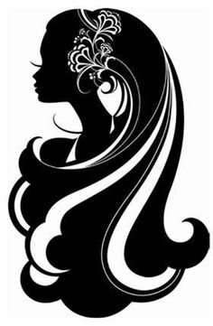 Gorgeus clipart wild hair Long of with silhouette head