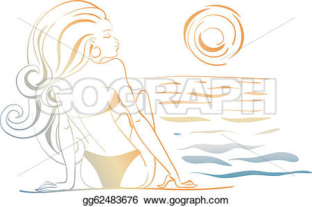 Gorgeus clipart women's hair Drawing beach woman smiling drawing
