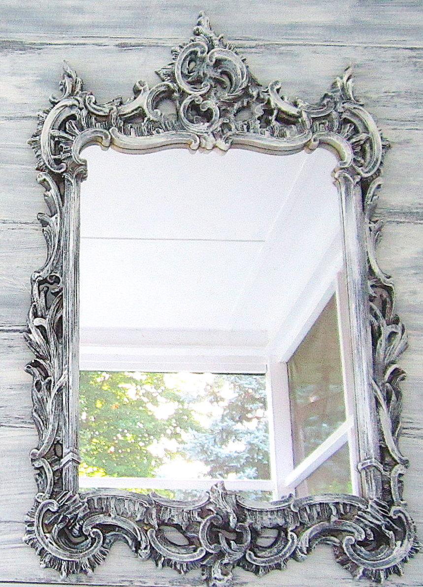 Drawn bugs ornate mirror Chic Mirror White 52