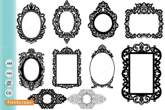 Mirror clipart baroque frame  art Ornate Baroque Clip
