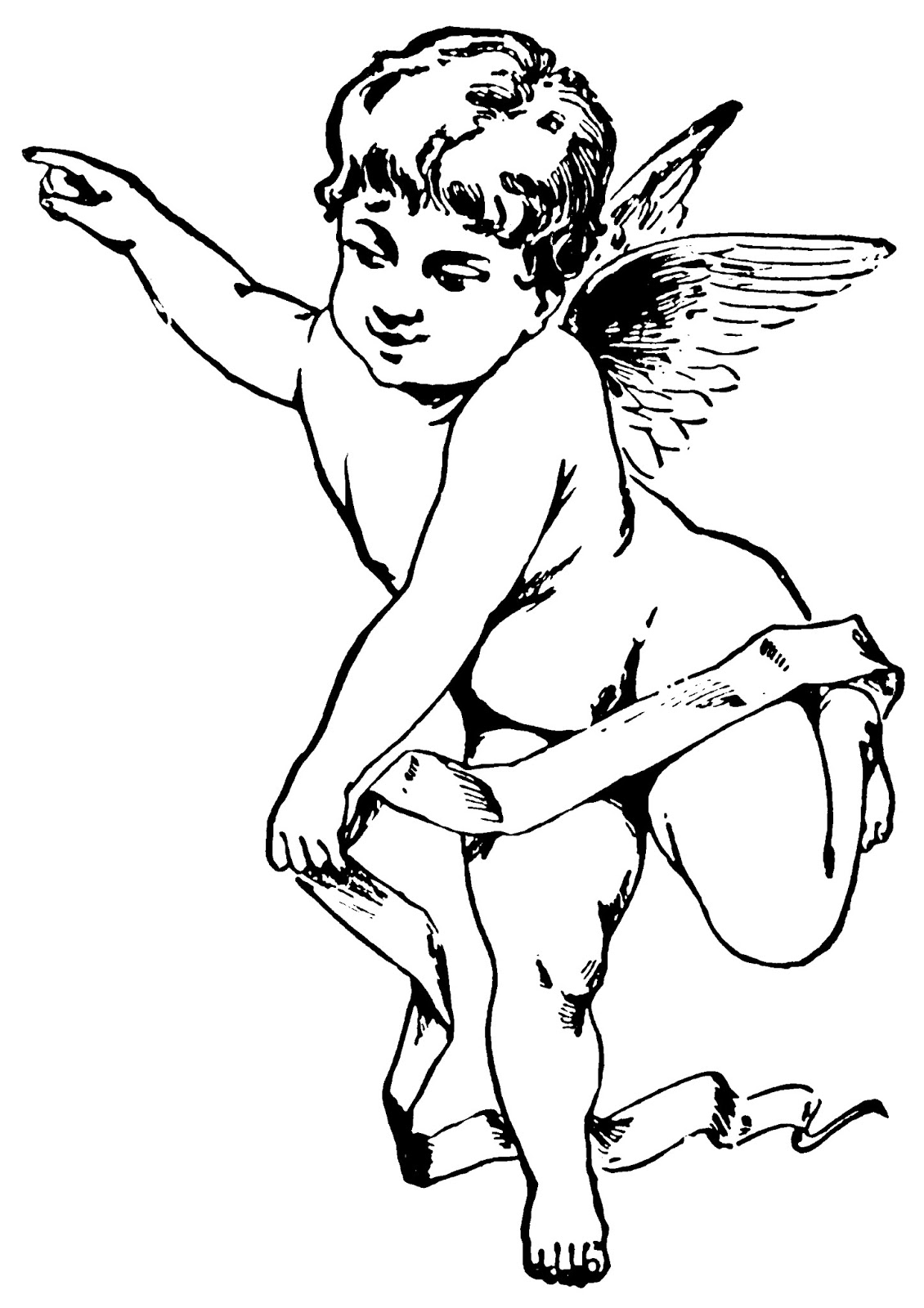 Cupid clipart cherub Vintage Free heart collection Free