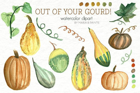 Gourd clipart orange pumpkin On Market ~ Watercolor Clip