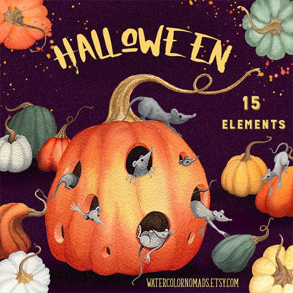 Gourd clipart autumn pumpkin Halloween rat watercolor Autumn invite
