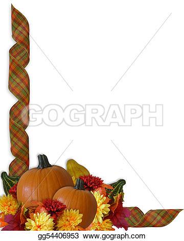 Gourd clipart border Border invitation Thanksgiving flowers Stock