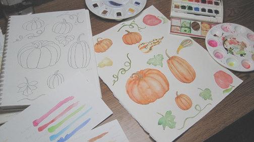 Gourd clipart fall pumpkin A leaf digital autumn file