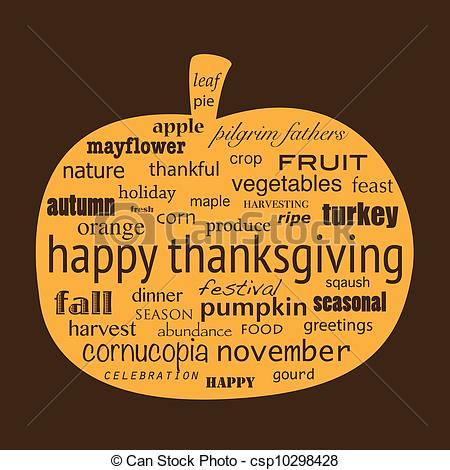 Gourd clipart happy pumpkin Thanksgiving Vector collage of Happy