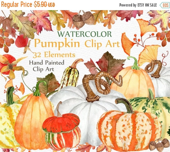 Gourd clipart harvest Pumpkin Thanksgiving Watercolor clipart SALE