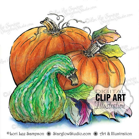 Gourd clipart small pumpkin Autumn Watercolor Clip from Pumpkin