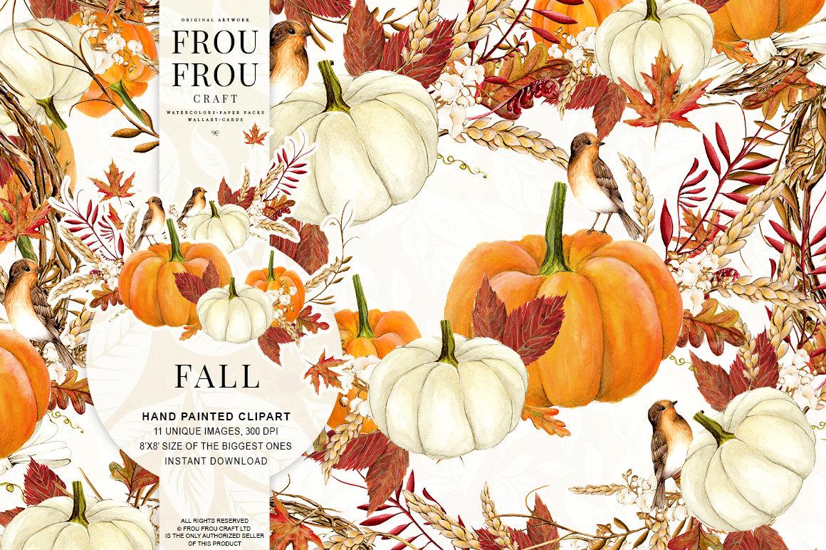 Gourd clipart thanksgiving food Watercolor Autumn Pumpkin a