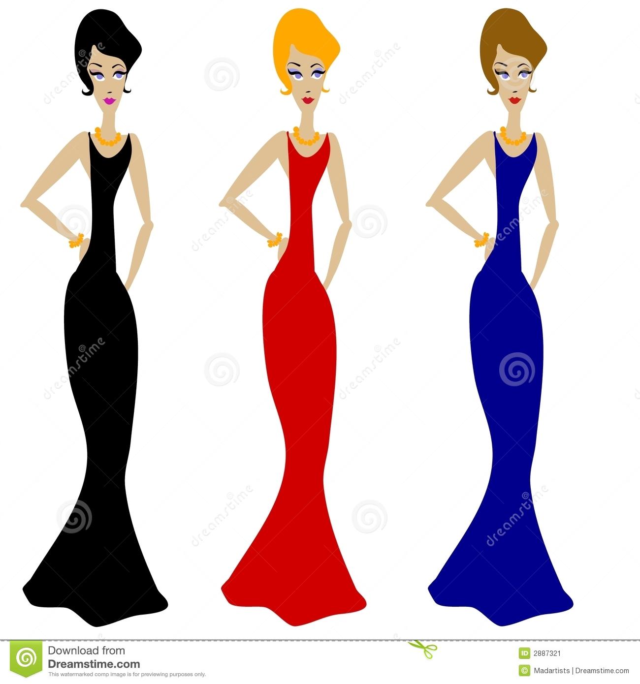 Gown clipart 3 woman Clipart 3 cliparts Women Dresses