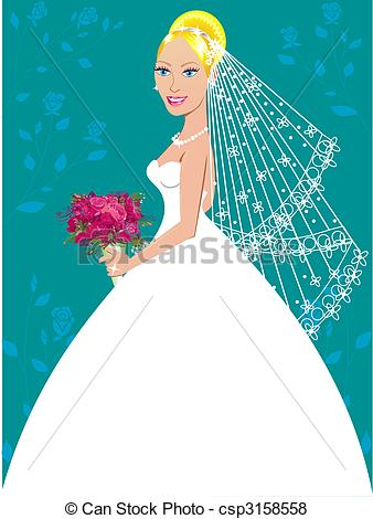 Gown clipart 3 woman Wedding Vector of 3 on