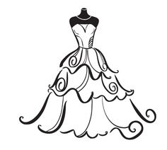 Gown clipart beautiful dress Wedding DOWNLOAD INSTANT greeting clipart