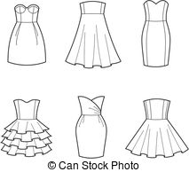Gown clipart black and white Art dresses EPS 129 Vector