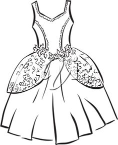 Gown clipart black and white Indian Princess Colouring Clipart Pages