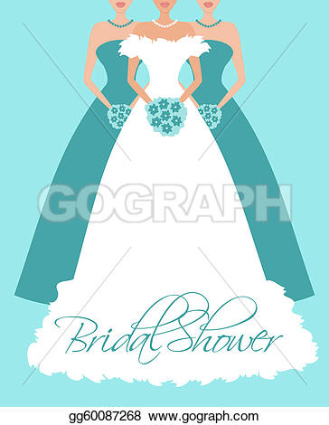 Wedding Dress clipart blue Bridesmaids and Invitation in GoGraph