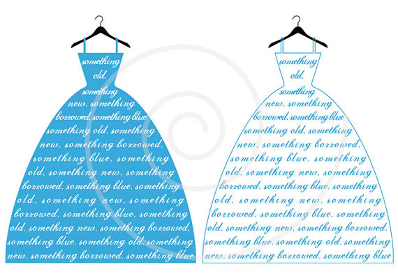 Gown clipart bridal shower Fashion Something vector blue from