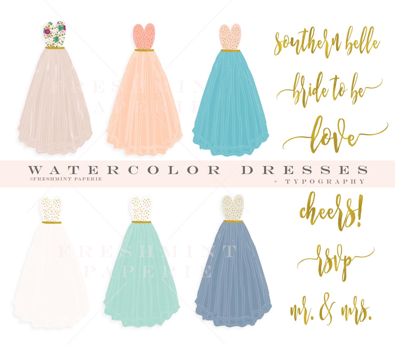 Gown clipart drees Dress watercolor clipart clipart dress