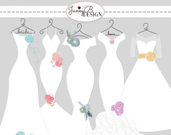 Gown clipart drees Watercolor Dress Flower Silhouettes Dress