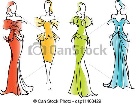 Elegant  and Illustration dresses