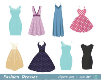 Gown clipart fashion dress Clip Card Digital instant digital