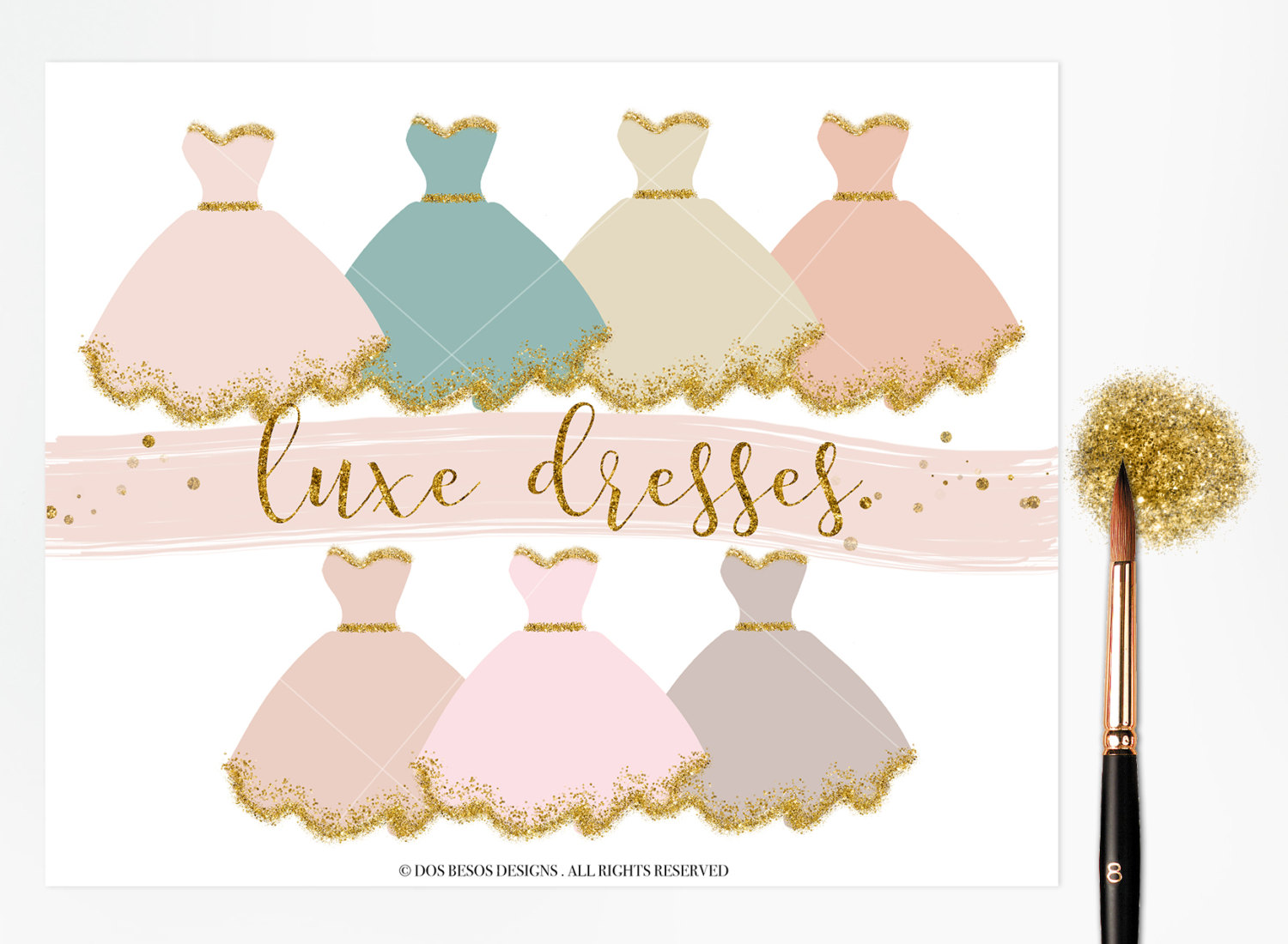 Gown clipart fashion dress Couture Etsy Glitter Dress Dress