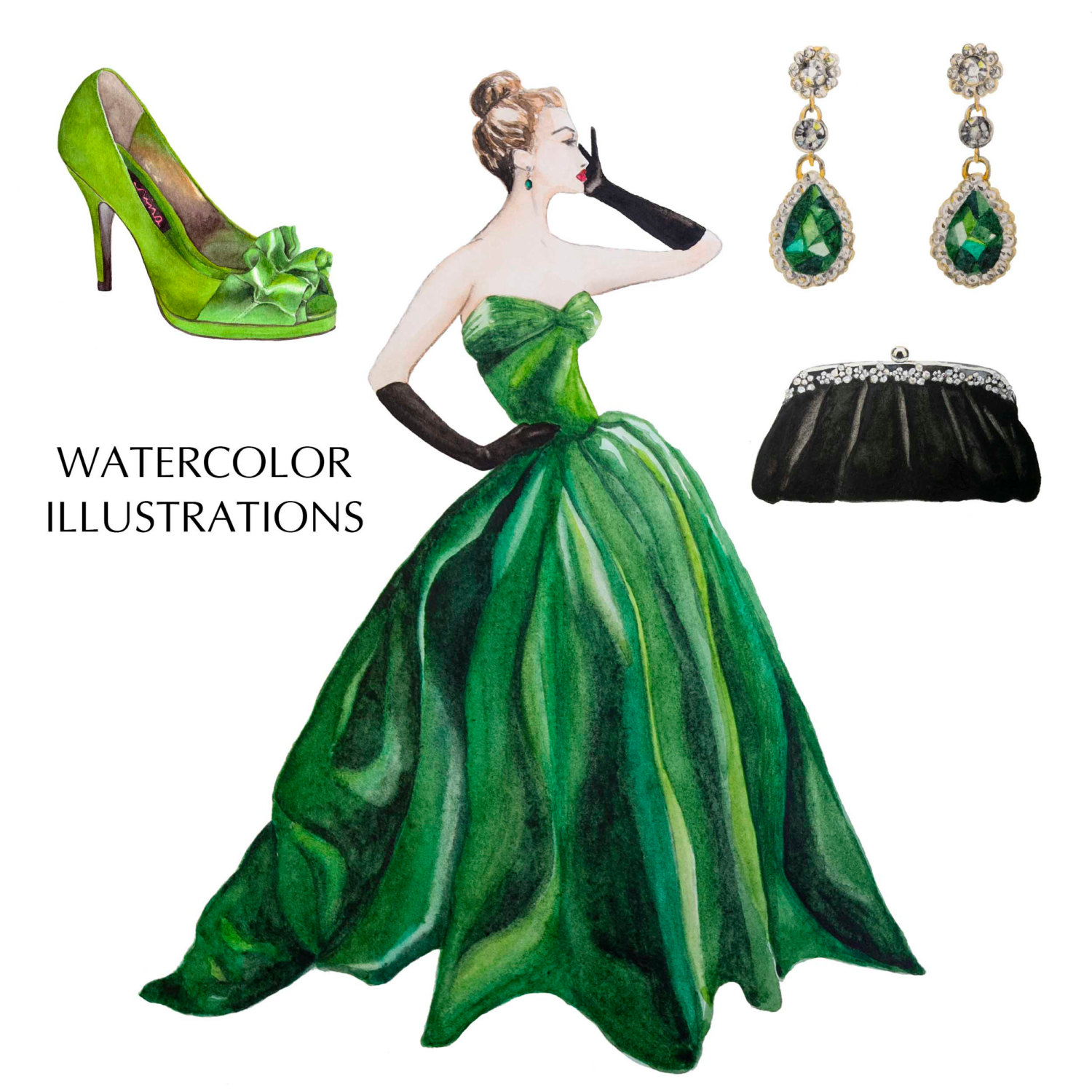 Gown clipart green A jewels This Vintage painted