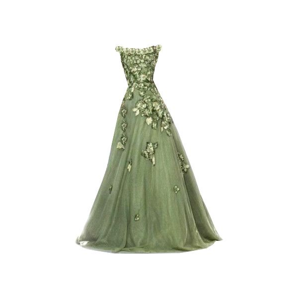 Gown clipart green dress Dresses 25+ Green Polyvore gowns