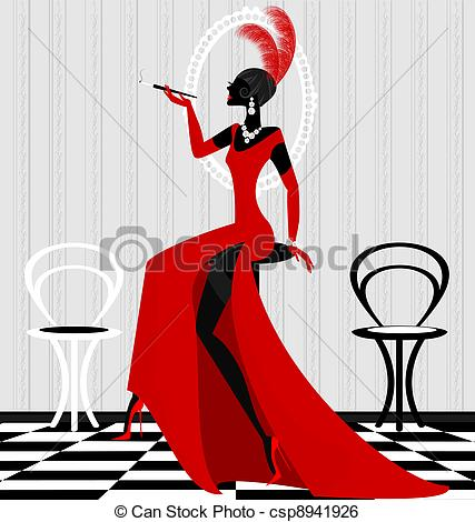 Gown clipart lady in red Vector lady interior Art red