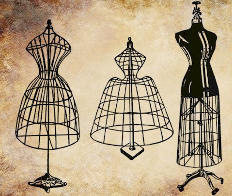 Gown clipart manikin Wire Digital antique dress mannequins