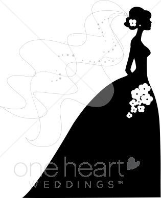 Kisses clipart retro wedding Bride Silhouette Art and bride