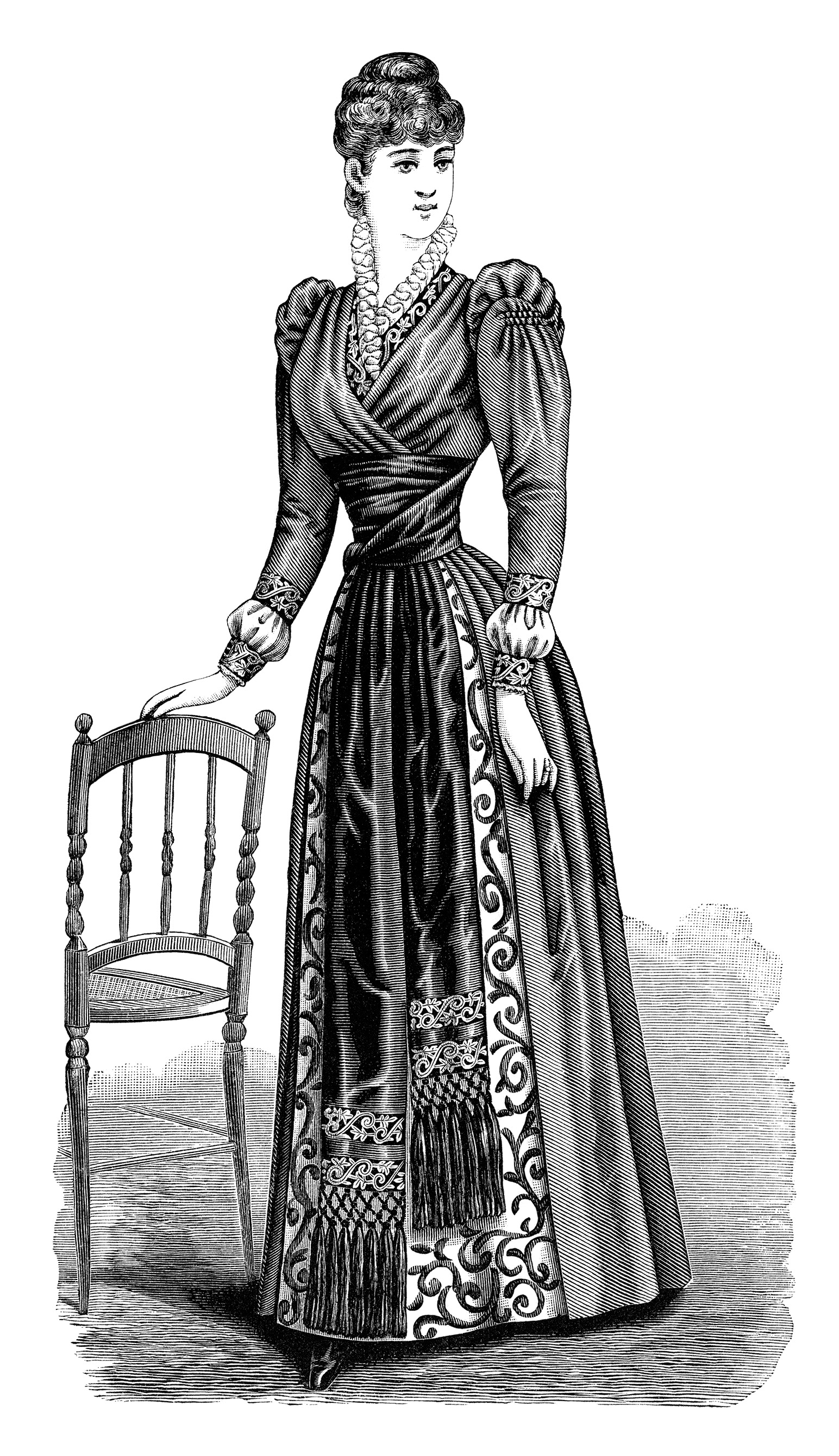 Gown clipart old fashioned Victorian free art black lady