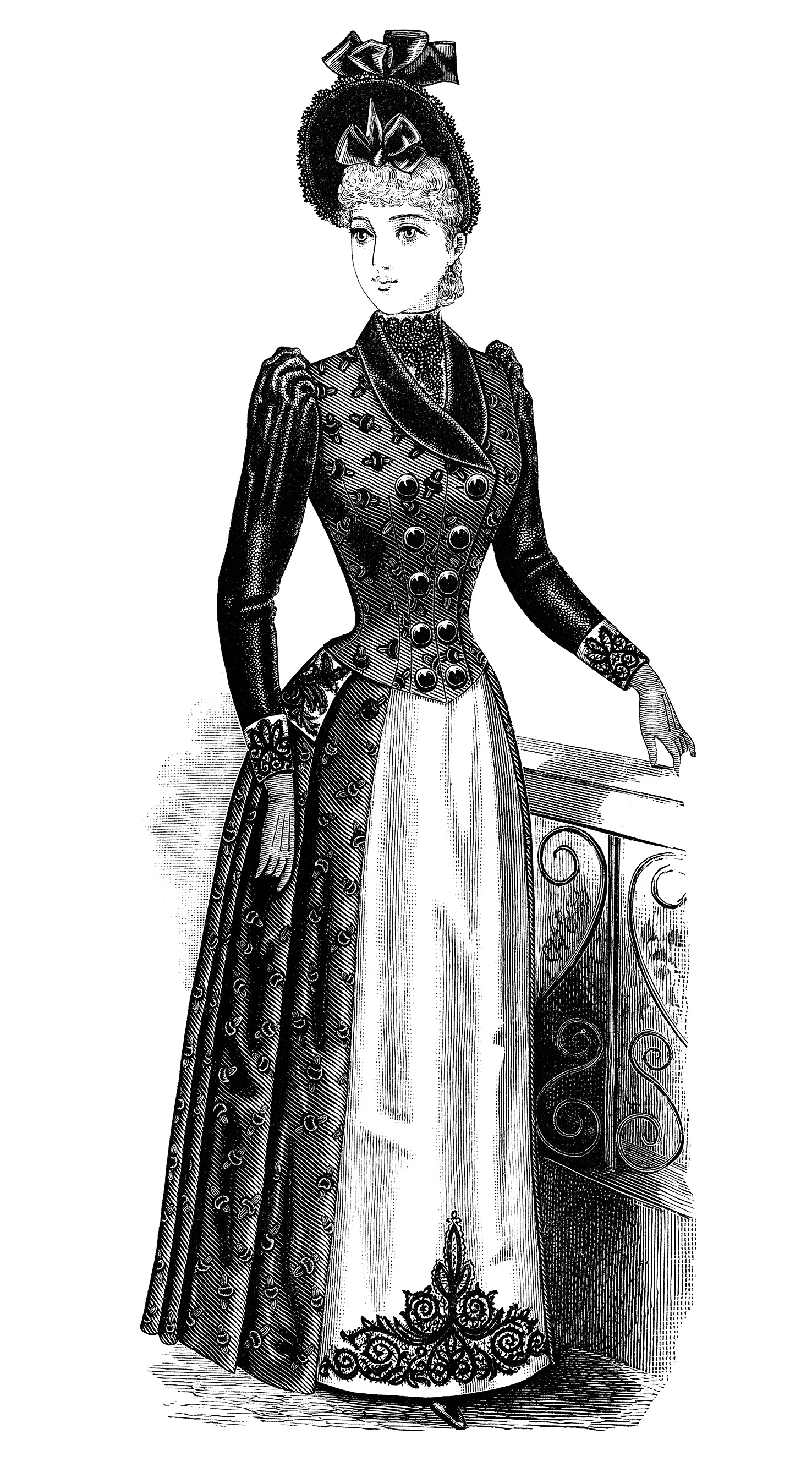 Gown clipart old fashioned Black and vintage clipart Fashion