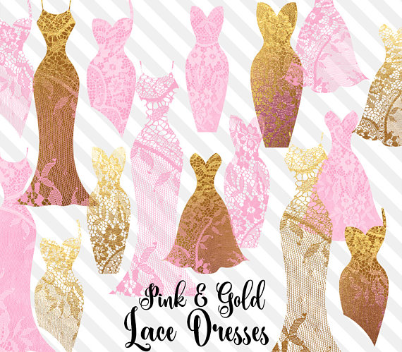 Gown clipart pink dress Clipart dress Lace Pink pink