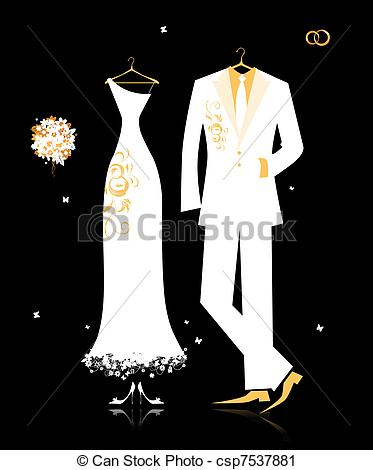 Gown clipart tuxedo Wedding bride's white and suit