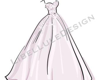 Gown clipart vector Vector Digital Wedding clipart Dress