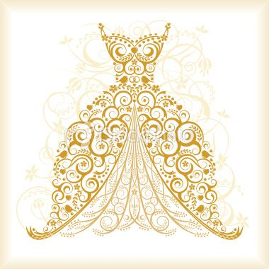 Gown clipart vintage wedding dress Illustration Dress Wands Clipart Stock