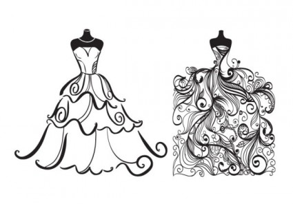 Gown clipart vintage wedding dress Clipart art Vintage – Vector