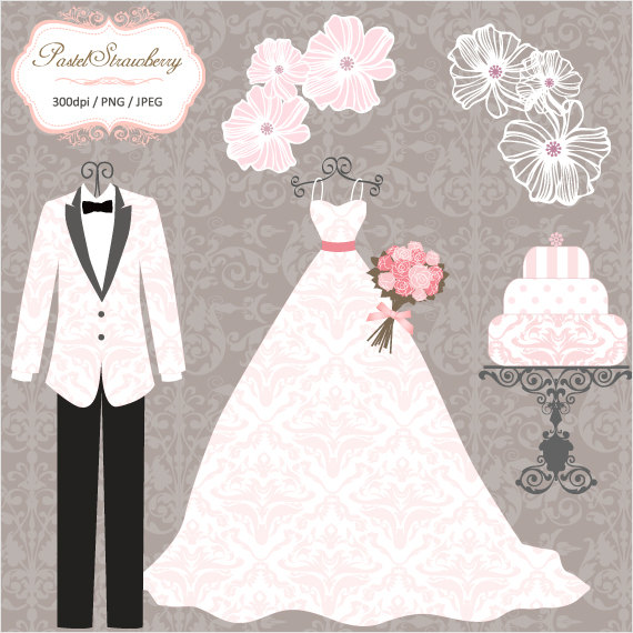 Gown clipart vintage wedding dress Wedding Vintage Clip Dresses_Wedding Wedding