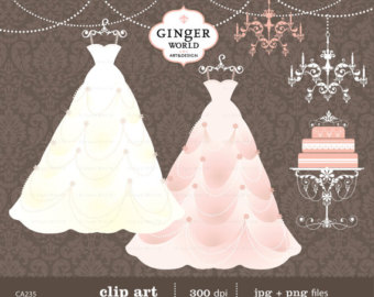 Gown clipart vintage wedding dress Fashion clip clip gown Boutique