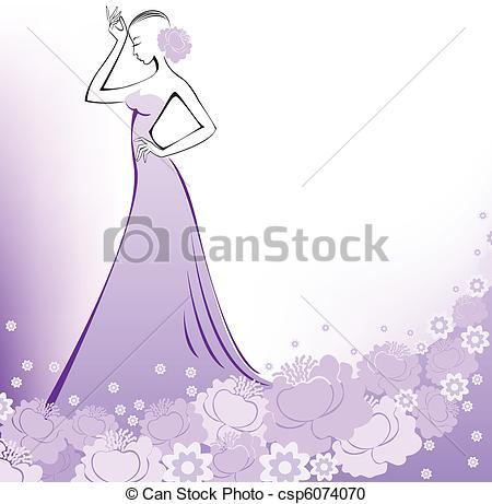 Gown clipart violet Csp6074070 lavender lavender dress woman