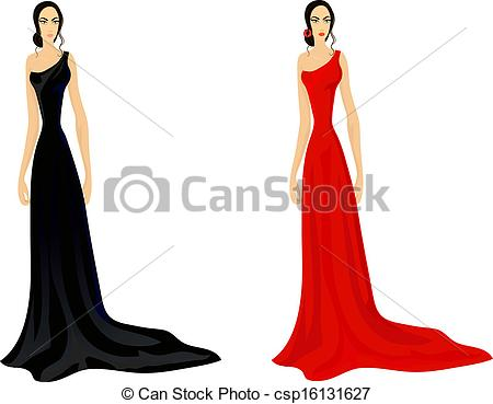 Gown clipart womens dress Splendid Vector in dress two